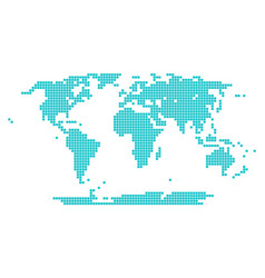 Dotted world map square point vector