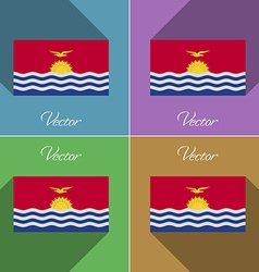 Flags Kiribati Set of colors flat design and long vector image vector image