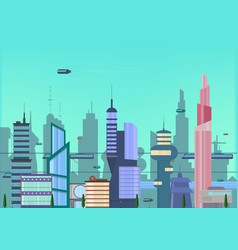 future city flat urban cityscape vector image
