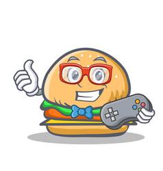 Gamer burger character fast food vector
