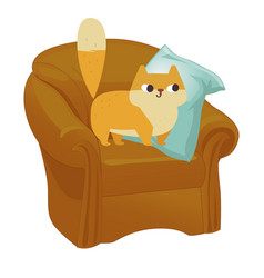 ginger cat funny plump cat in the big armchair vector image vector image
