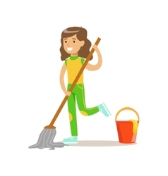 Girl washing the floor with mop and water smiling vector