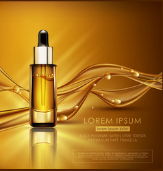 Glass vial with professional facial serum on the vector
