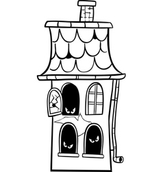 haunted house cartoon for coloring vector image vector image