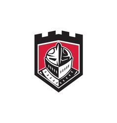 Knight helmet shield retro vector