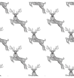 Magic horned deer seamless pattern in zentangle vector