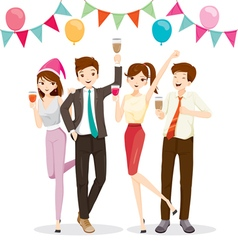 Man and woman fun in party with drink vector