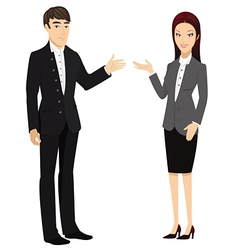 man and woman presenting vector image vector image