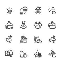 Obesity behavioral risk factors line icons set vector
