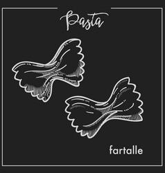 pasta farfalle chalk sketch for italian cuisine vector image