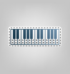 Piano keyboard sign blue icon with vector