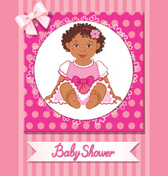 Postcard of baby shower with cute girl on pink vector