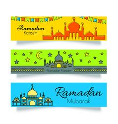 Ramadan banners or headers set vector