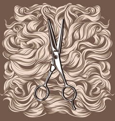 retro scissors against the background of the hair vector image