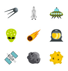 Space and astronomy icons set flat style vector