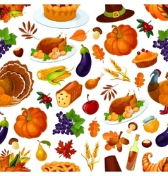 Thanksgiving seamless pattern decoration vector image