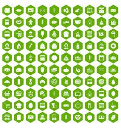 100 bakery icons hexagon green vector