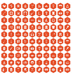 100 recreation icons hexagon orange vector