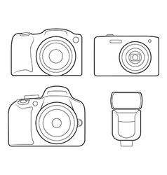 Photo camera flash silhouette icons vector