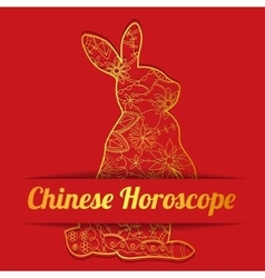 Chinese horoscope background with golden hare vector