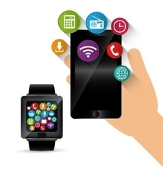 Hand hold smartphone smart watch sharing vector