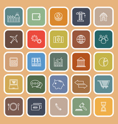 Economy line flat icons on brown background vector