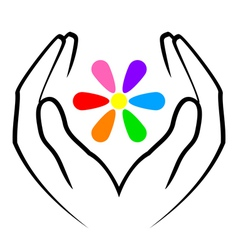 hands and flower vector image