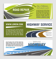 Road construction and repair banner template set vector