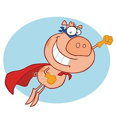 Super hero pig vector