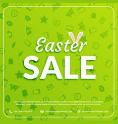 Easter sale banner green background vector