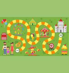 Kids amusement park board game vector
