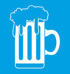 Mug with beer icon white vector