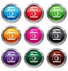 vintage photo camera set 9 collection vector image