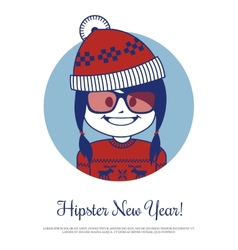 Holiday card hipster new year with santa claus in vector