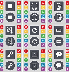 Media stop headphones smartphones mute reload sell vector