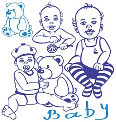 baby and teddy vector image