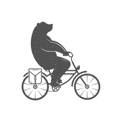 Vintage of funny bear on a bike vector
