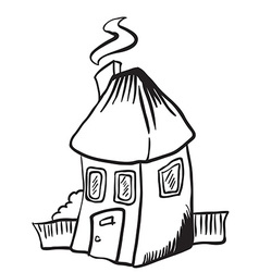 Simple black and white little house isolated vector