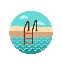 Swimming pool icon summer vacation vector
