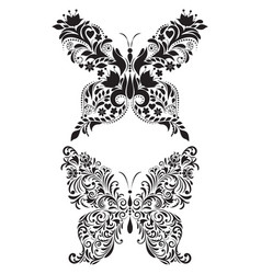 Abstract floral butterflies vector