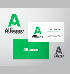 Alliance abstract logo and business card vector