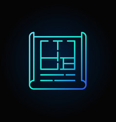 Apartment plan blue outline icon vector