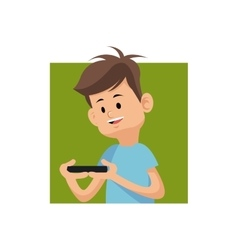 Cartoon boy playing video game with smartphone vector