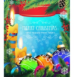 Christmas decorations on blue background vector