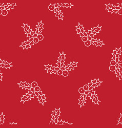Christmas red background hand drawn white vector