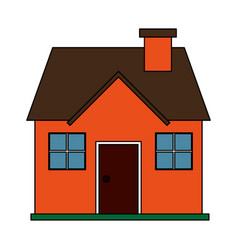 Color image cartoon facade confortable house with vector