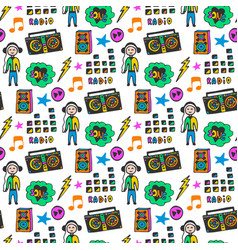 Colorful musical seamless pattern fun colors vector