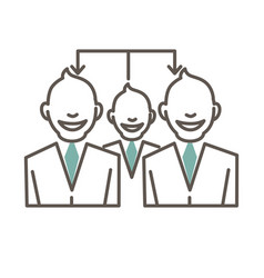 Connected cartoon people in suits and ties vector