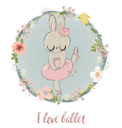 cute hare with floral wreath vector image
