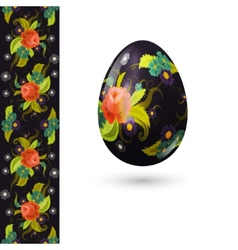 Easter egg decorated with beautiful floral pattern vector image vector image